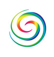 rainbow spiral waves vivid colors background vector image