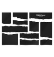 ripped black paper strips realistic crumpled vector image