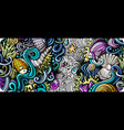 sea life hand drawn doodle banner cartoon vector image vector image
