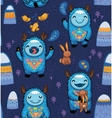 Seamless pattern with cute cartoon monsters vector image vector image