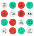 set of 16 social network icons includes follow vector image
