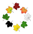 set of colorful maple leaf isolated on white vector image vector image