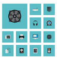 set of pc icons flat style symbols with game vector image vector image