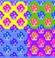 set of seamless patterns from cartoon mushrooms vector image vector image