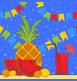 set of tropical fruits and a glass with juice and vector image