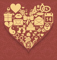 set valentines day icons compiled in shape of vector image vector image