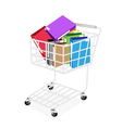 Seven Colors of Office Folder in Shopping Cart vector image vector image