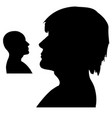 silhouettes of a mans heads side shot black and vector image