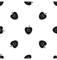 smiling apple pattern seamless black vector image vector image