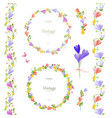 spring floral collection with crocus elegante set vector image vector image