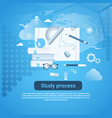 study process web banner with copy space on blue vector image vector image