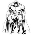 superhero sitting isolated line art vector image vector image