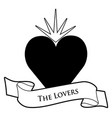 tarot card concept the lovers heart and text vector image
