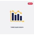two color three bars graph icon from ultimate vector image vector image