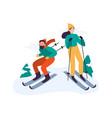 winter activities people skiing couple spending vector image