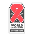 World cancer day label vector image