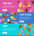 yummy ice cream flyers set vector image