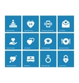 Valentines Day icons on blue background vector image