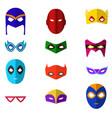 cartoon superhero mask color icons set vector image