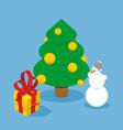 Christmas Tree and snowman Gift box Holiday tree vector image