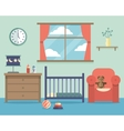 Nursery baby room interior with furniture in flat vector image