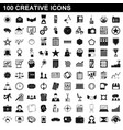 100 creative icons set simple style vector image vector image