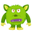 angry green monster white background vector image