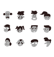 black cartoon people icon vector image vector image