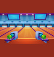 bowling alley interior flat vector image