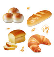 bread realistic bakery icons set vector image
