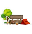 camping children with wooden banner vector image vector image