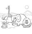 cartoon safari animals group coloring page vector image vector image