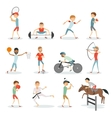 cartoon sport people athletes different sports vector image