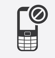 cell phone icon with not allowed sign vector image