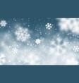 christmas snow falling snowflakes on dark blue vector image vector image