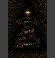 christmas tree ribbon black background gold vector image vector image