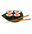 clipart sushi and chopsticks over a green leaf vector image vector image