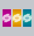 colorful brushed banners with square frames vector image vector image