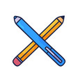 crossed pencils hand drawn doodle icon outline vector image vector image