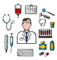 Doctor therapist with medical icons