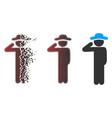 dust pixel halftone gentleman salute icon vector image
