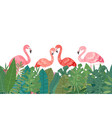 flamingo in tropical paradise banner horizontal vector image vector image