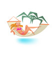 girl rests on sea sunbathing relaxes in hammock vector image