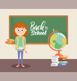 girl with blackboard and palette with painbrush vector image vector image