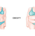 girl with normal weight and obesity vector image vector image