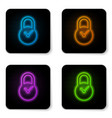 glowing neon padlock with clock icon isolated on vector image vector image