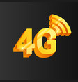 golden 4g connection icon vector image