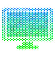 halftone blue-green computer display icon vector image