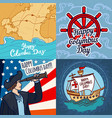 happy columbus day banner set hand drawn style vector image