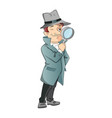 male detective looking through magnifying glass vector image